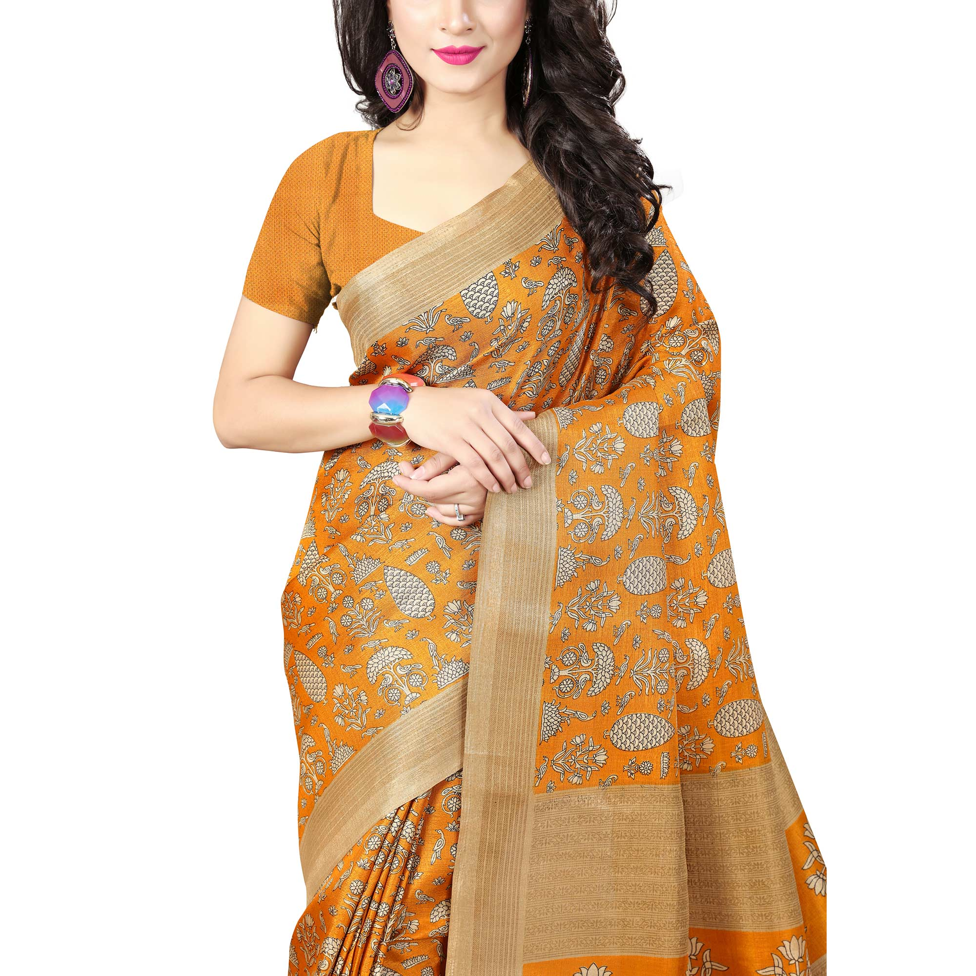 Exotic Yellow Colored Casual Printed Art Silk Saree