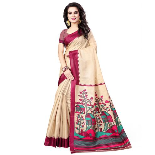 Marvellous Beige-Purple Colored Casual Printed Art Silk Saree