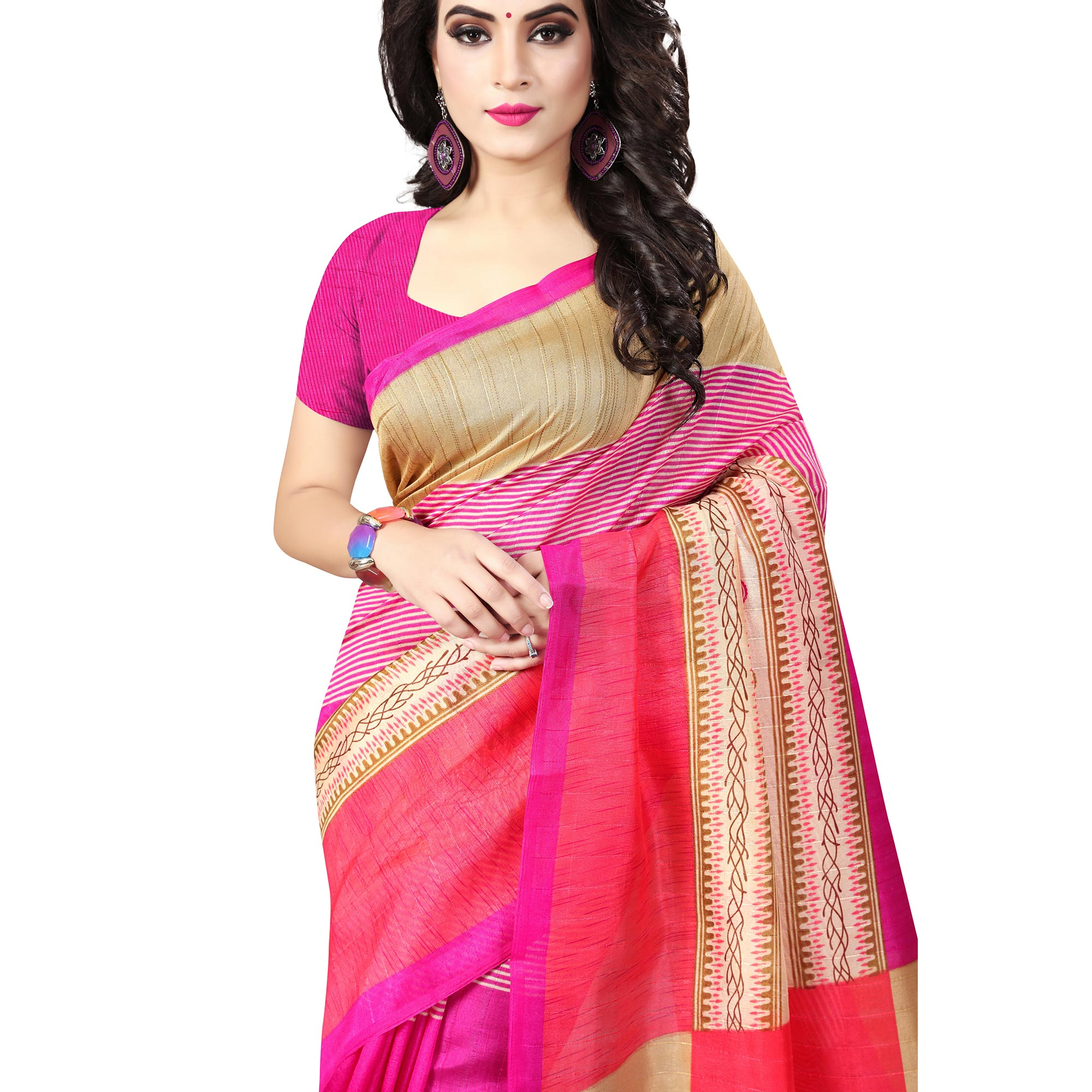 Flattering Multicolored Casual Printed Bhagalpuri Silk Saree
