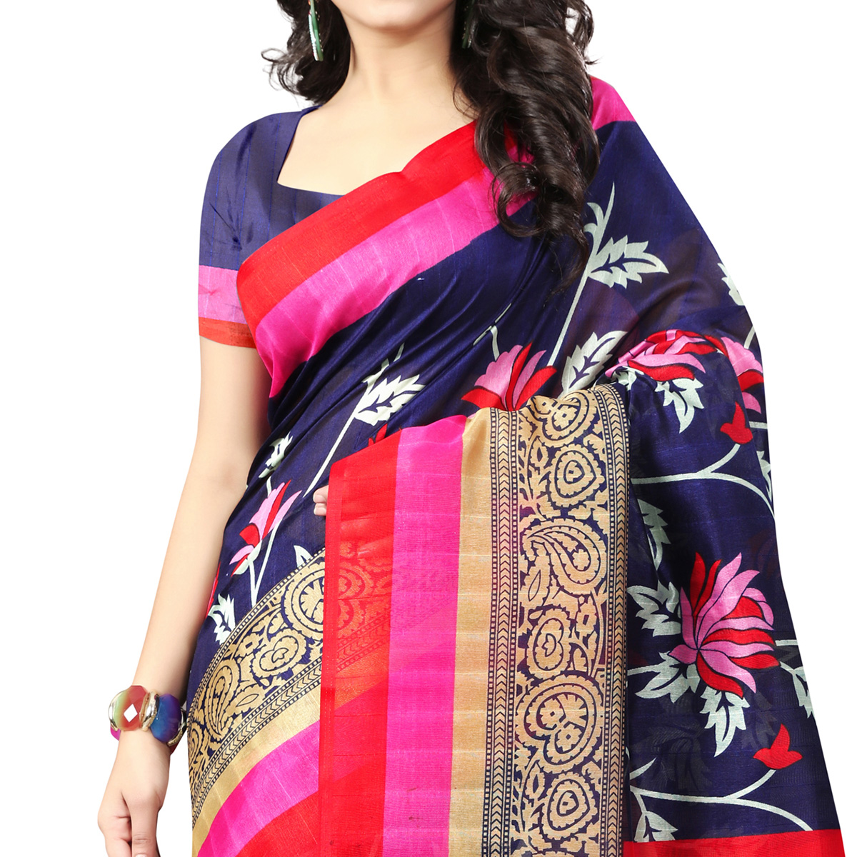 Excellent Navy Blue Colored Casual Printed Bhagalpuri Silk Saree
