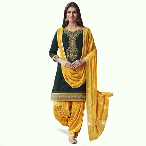 Intricate Green Colored Partywear Cotton Patiala Suit