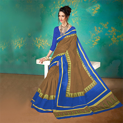 Brown Colored Festive Wear Bhagalpuri Cotton Saree