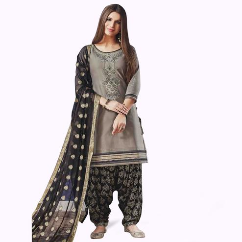 Desirable Gray Colored Partywear Cotton Patiala Suit