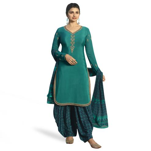 Radiant Sea Green Colored Partywear Embroidered Crepe Patiala Suit