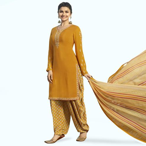 Pleasant Mustard Yellow Colored Partywear Embroidered Crepe Patiala Suit