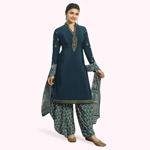Energetic Dark Teal Blue Colored Partywear Embroidered Crepe Patiala Suit