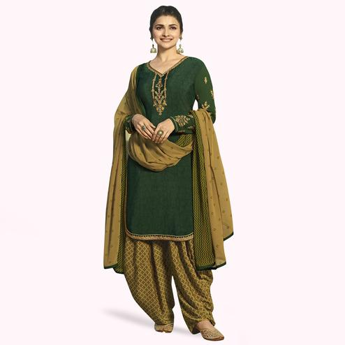 Demanding Green Colored Partywear Embroidered Crepe Patiala Suit