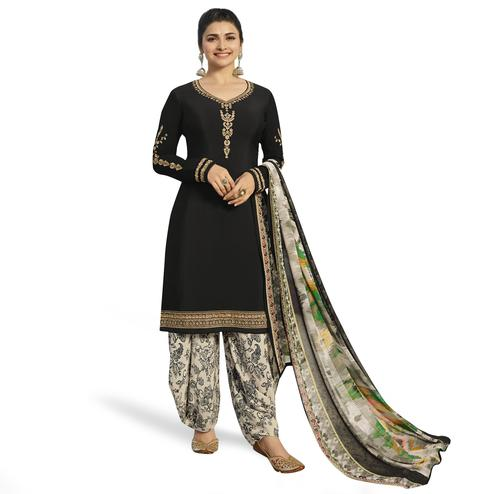Exceptional Black Colored Partywear Embroidered Crepe Patiala Suit