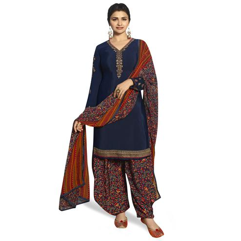 Mesmeric Navy Blue Colored Partywear Embroidered Crepe Patiala Suit
