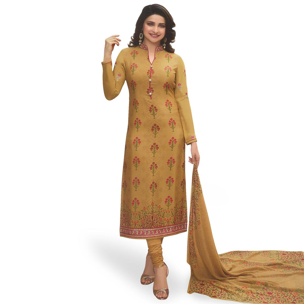 Attractive Yellow Colored Partywear Embroiderd Crape Suit