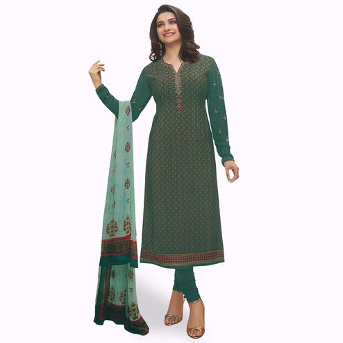 Beautiful Rama Green Colored Partywear Embroiderd Crape Suit