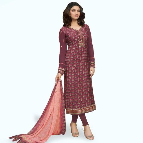Graceful Purple Colored Partywear Embroiderd Crape Suit