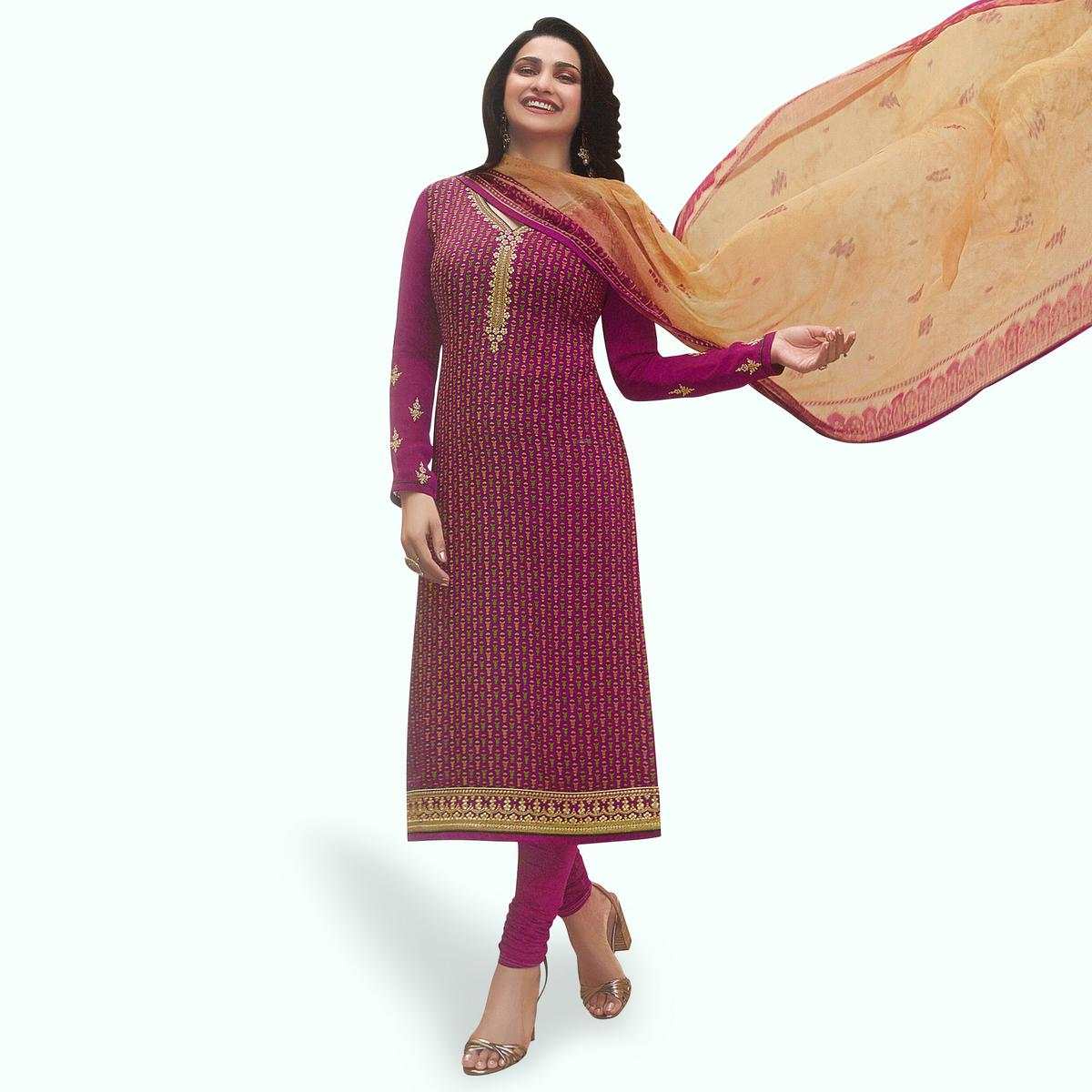 Jazzy Deep Magenta Pink Colored Partywear Embroiderd Crape Suit