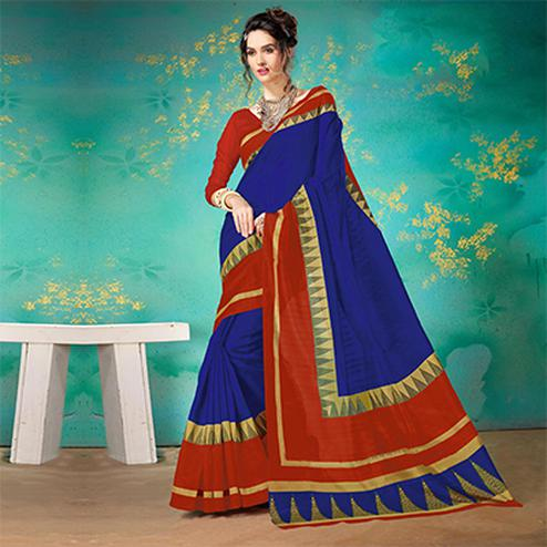 Royal Blue Festive Wear Bhagalpuri Cotton Saree