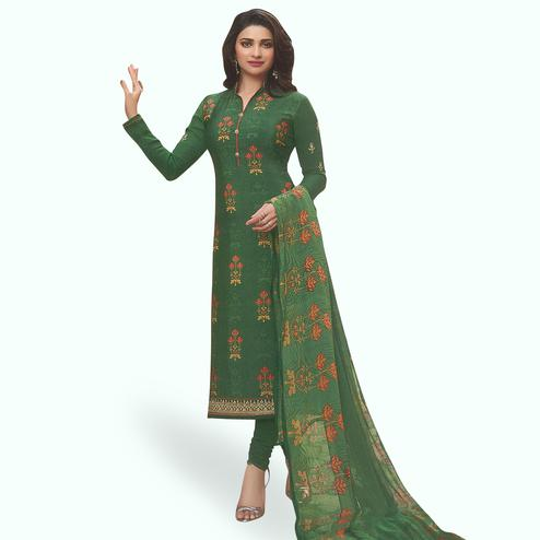 Delightful Green Colored Partywear Embroiderd Crape Suit
