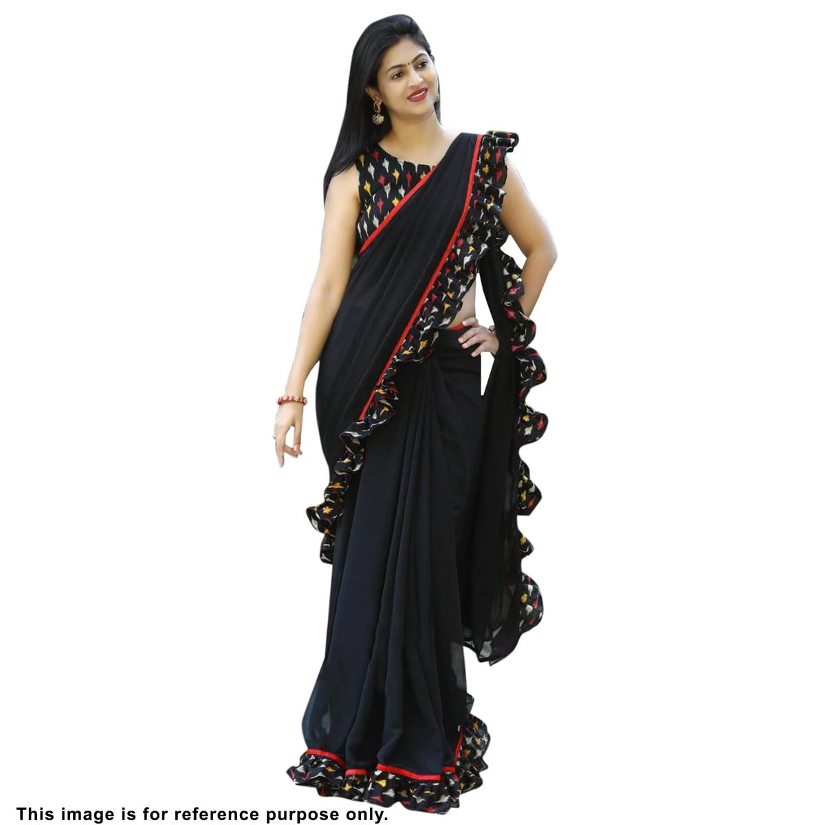 Adorning Black Colored Partywear Printed Georgette Saree