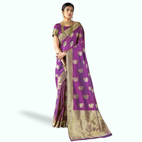 Exceptional Purple Colored Festive Wear Woven Silk Saree