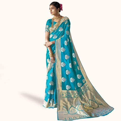 Refreshing Rama Blue Colored Festive Wear Woven Silk Saree