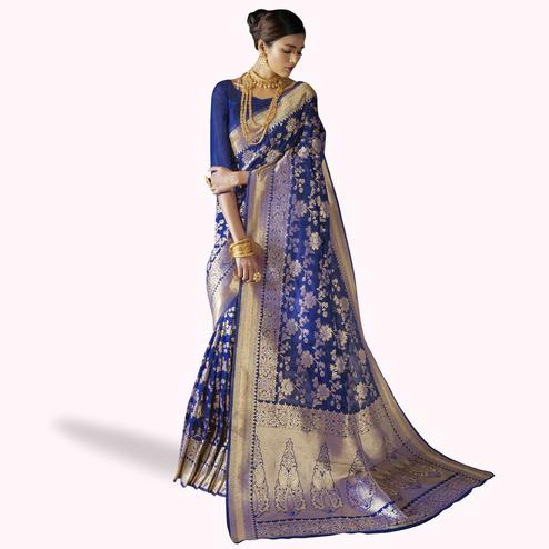 Magnetic Blue Colored Festive Wear Woven Silk Saree