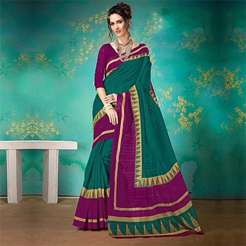 Green Festive Wear Bhagalpuri Cotton Saree