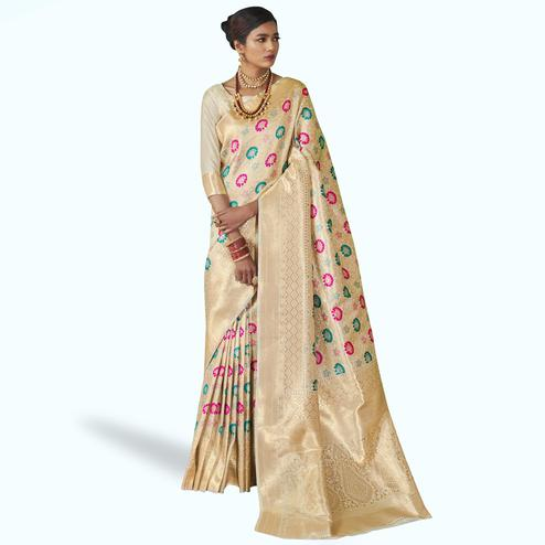 Flattering Cream Colored Festive Wear Woven Silk Saree