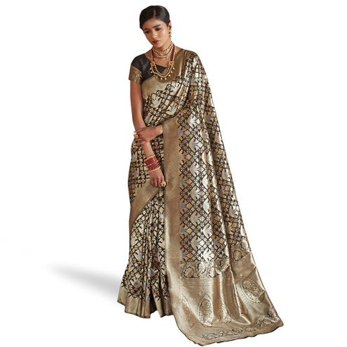 Excellent Golden Colored Festive Wear Woven Silk Saree