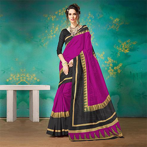 Pink Festive Wear Bhagalpuri Cotton Saree