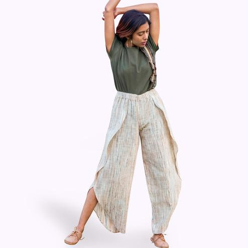 Blooming Olive Green-Off-White Colored Khadi Linen Top-Bottom Set