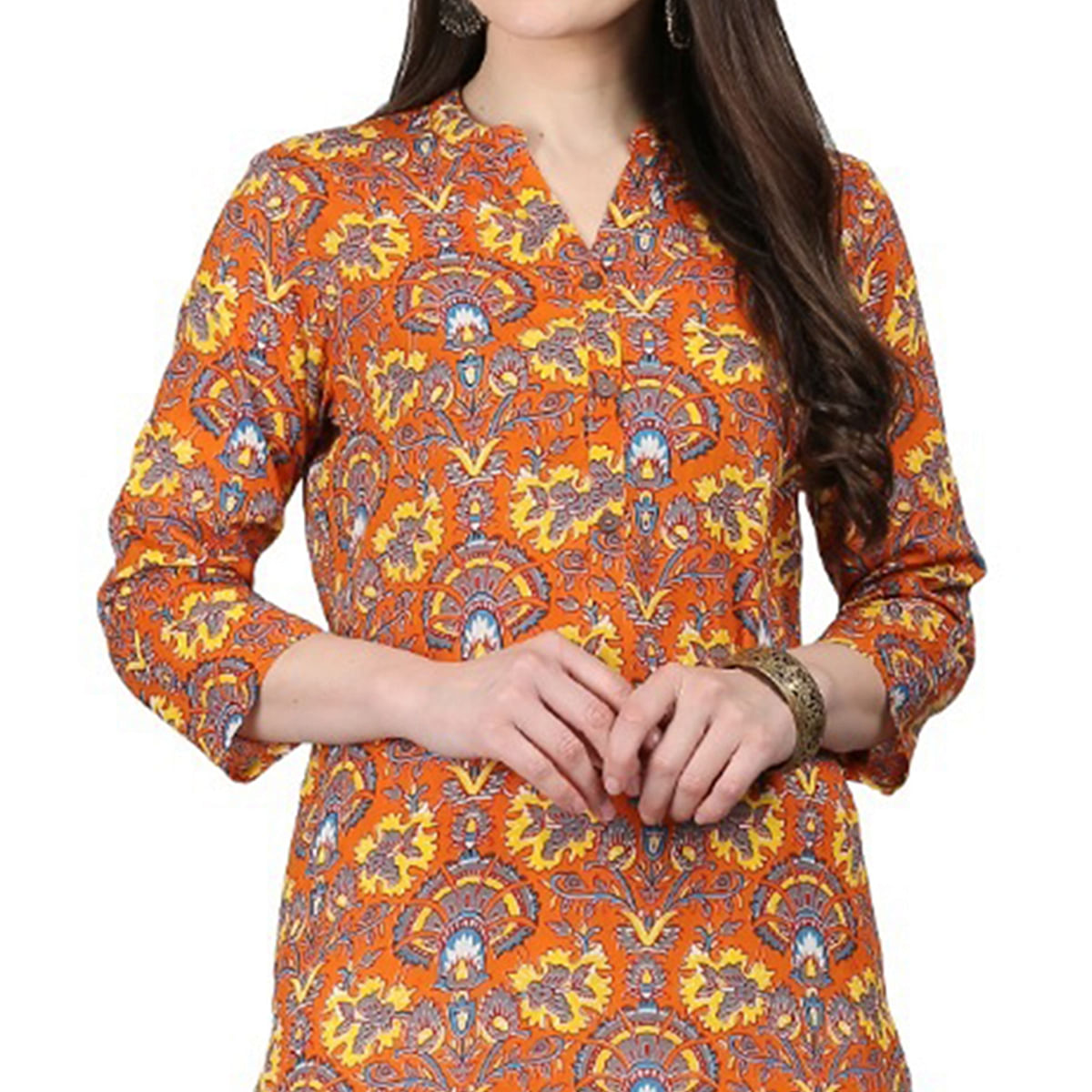 Trendy Orange Colored Casual Printed Cotton Kurti