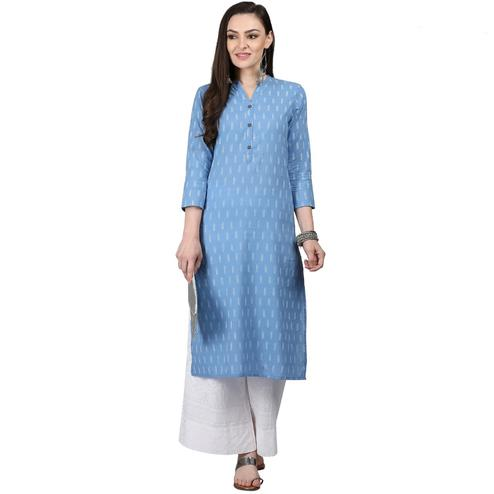Elegant Light Blue Colored Casual Printed Cotton Kurti
