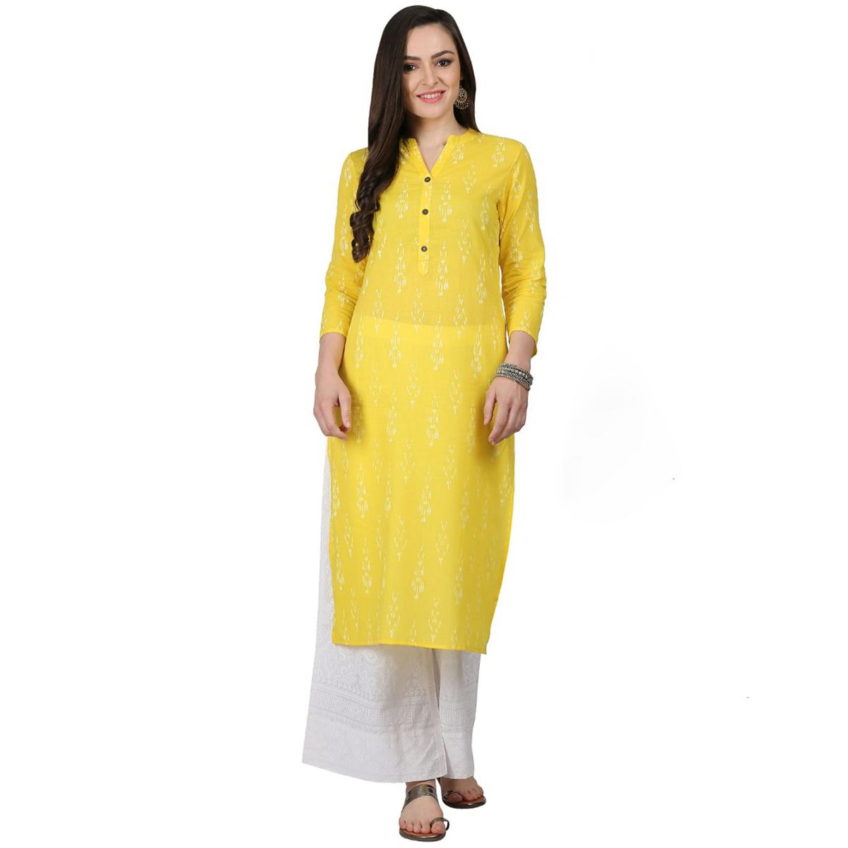 Radiant Yellow Colored Casual Printed Cotton Kurti