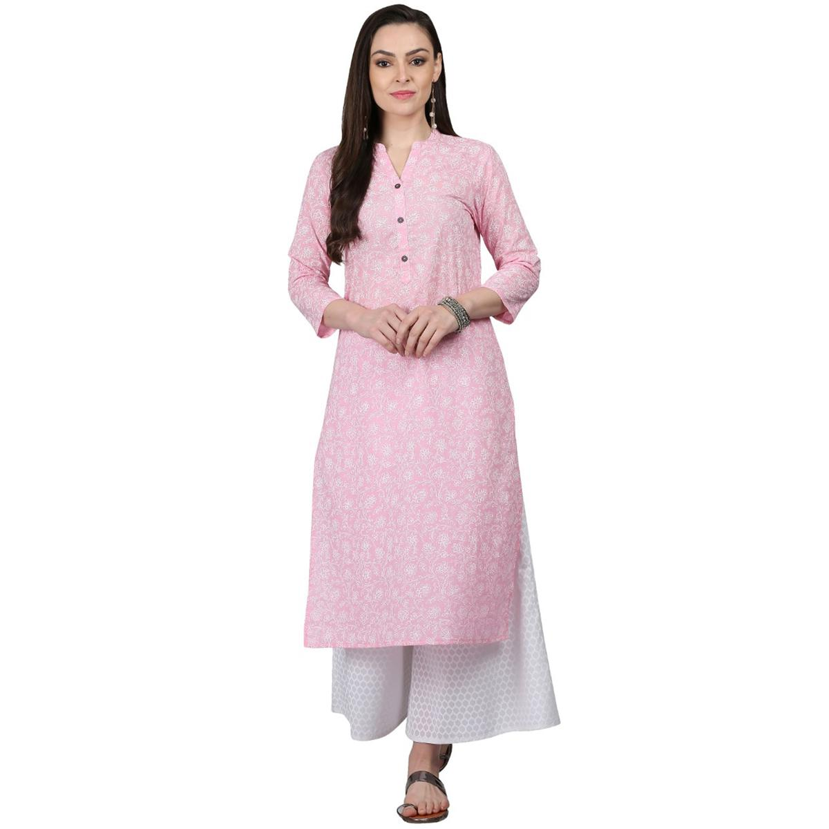 Opulent Pink Colored Casual Printed Cotton Kurti