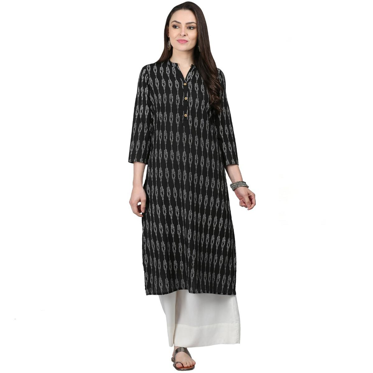 Energetic Black Colored Casual Printed Cotton Kurti