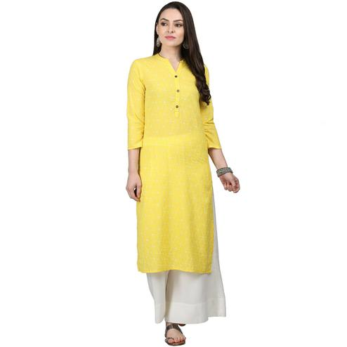 Glowing Yellow Colored Casual Printed Cotton Kurti