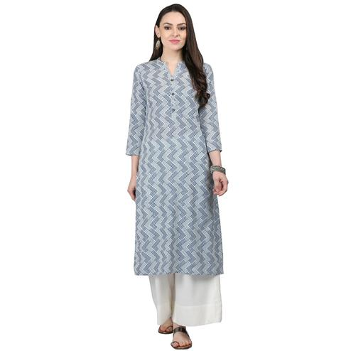 Exceptional Gray Colored Casual Printed Cotton Kurti