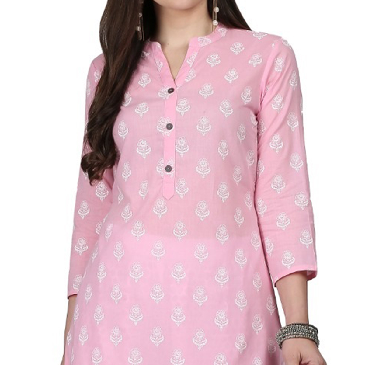 Gleaming Pink Colored Casual Printed Cotton Kurti