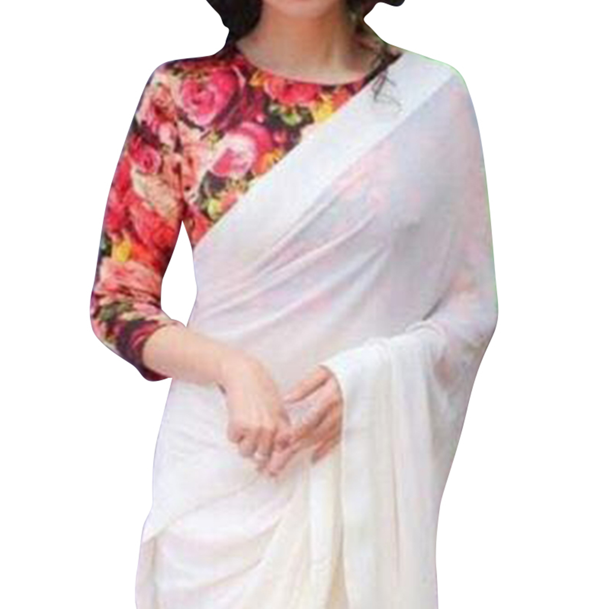 White Saree with Digital Printed Blouse