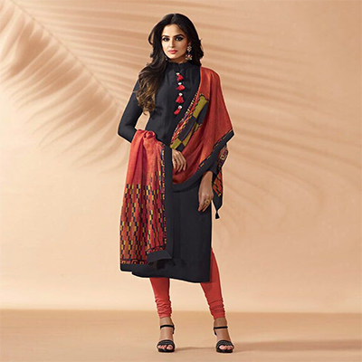 Black Designer Hand Worked Muslin Silk Salwar Suit
