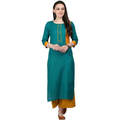 Mesmeric Rama Green Colored Casual Wear Cotton Kurti
