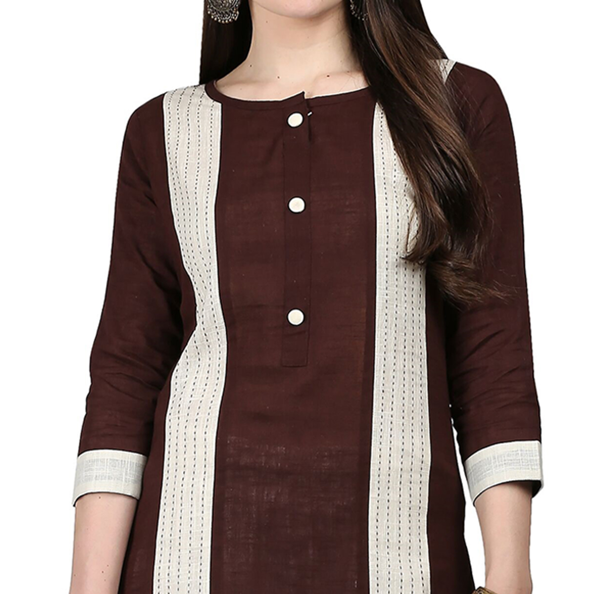 Unique Brown Colored Casual Wear Cotton Kurti