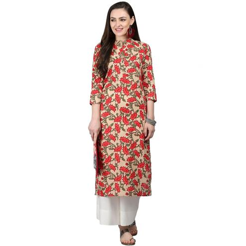 Demanding Beige-Red Colored Casual Printed Cotton Kurti