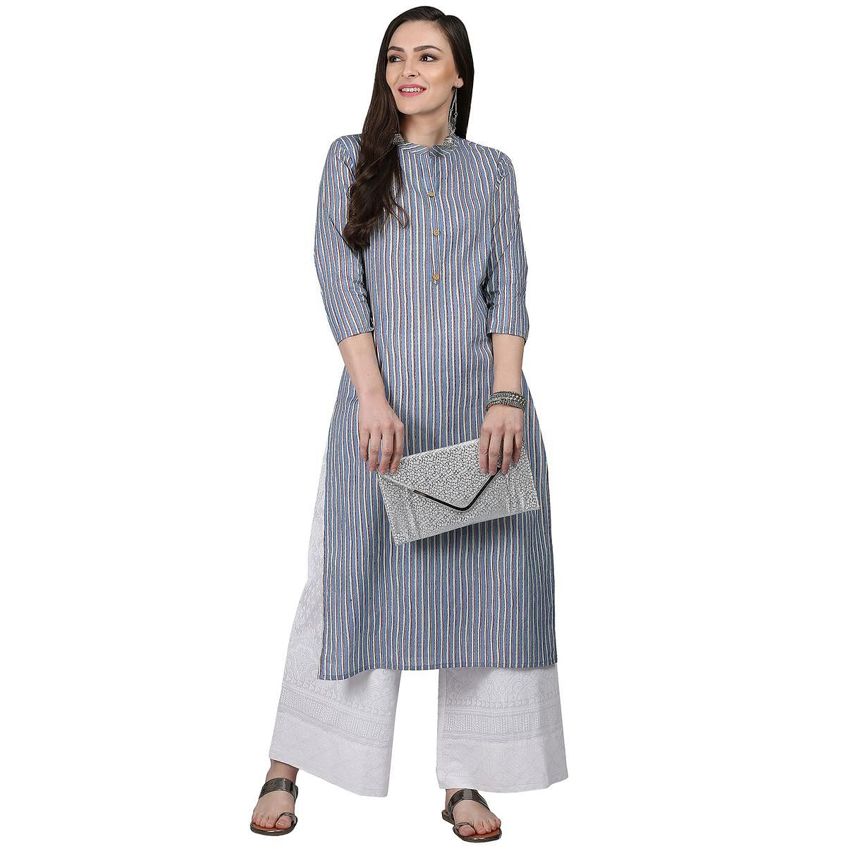 Refreshing Blue Colored Casual Wear Cotton Kurti