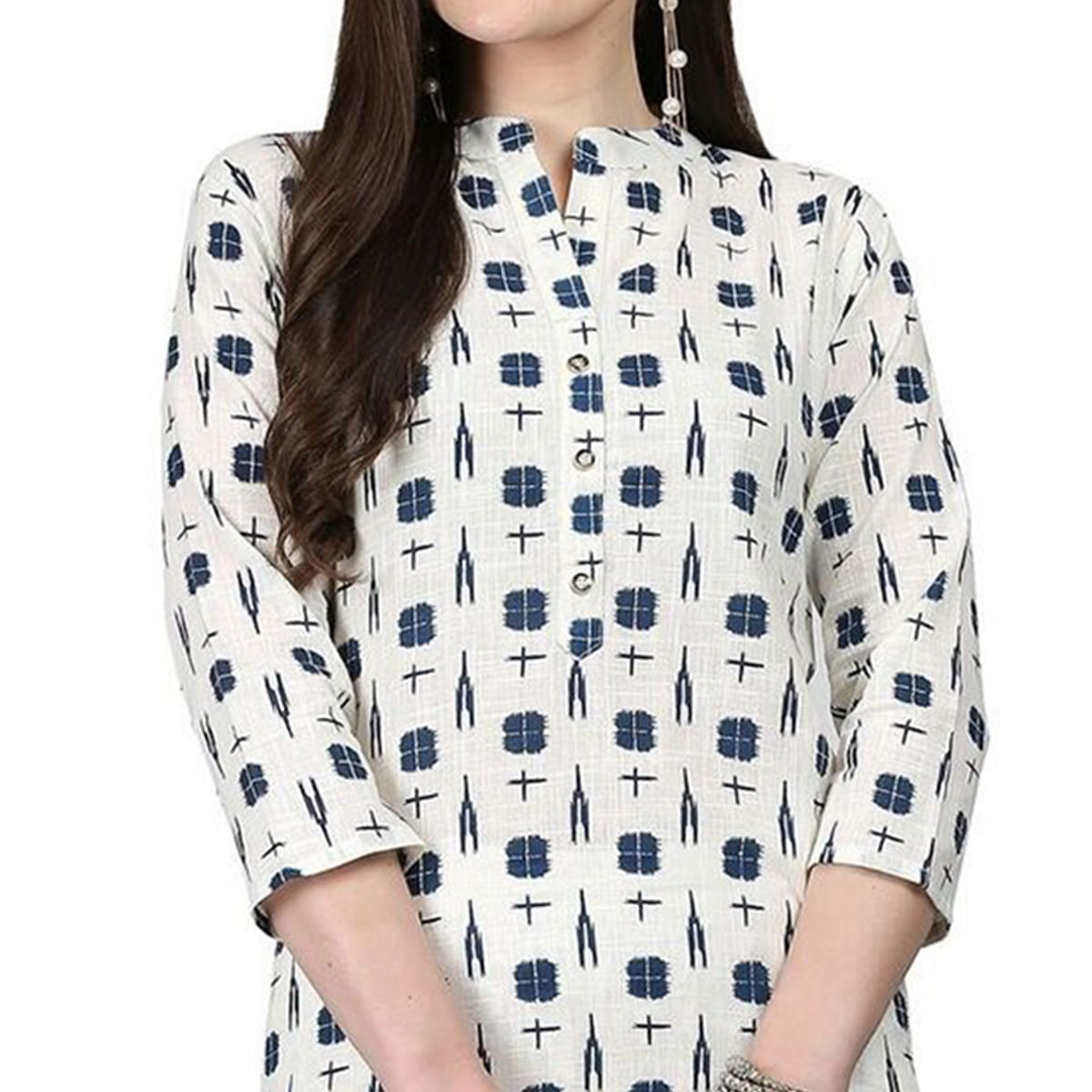 Magnetic White Colored Casual Printed Cotton Kurti