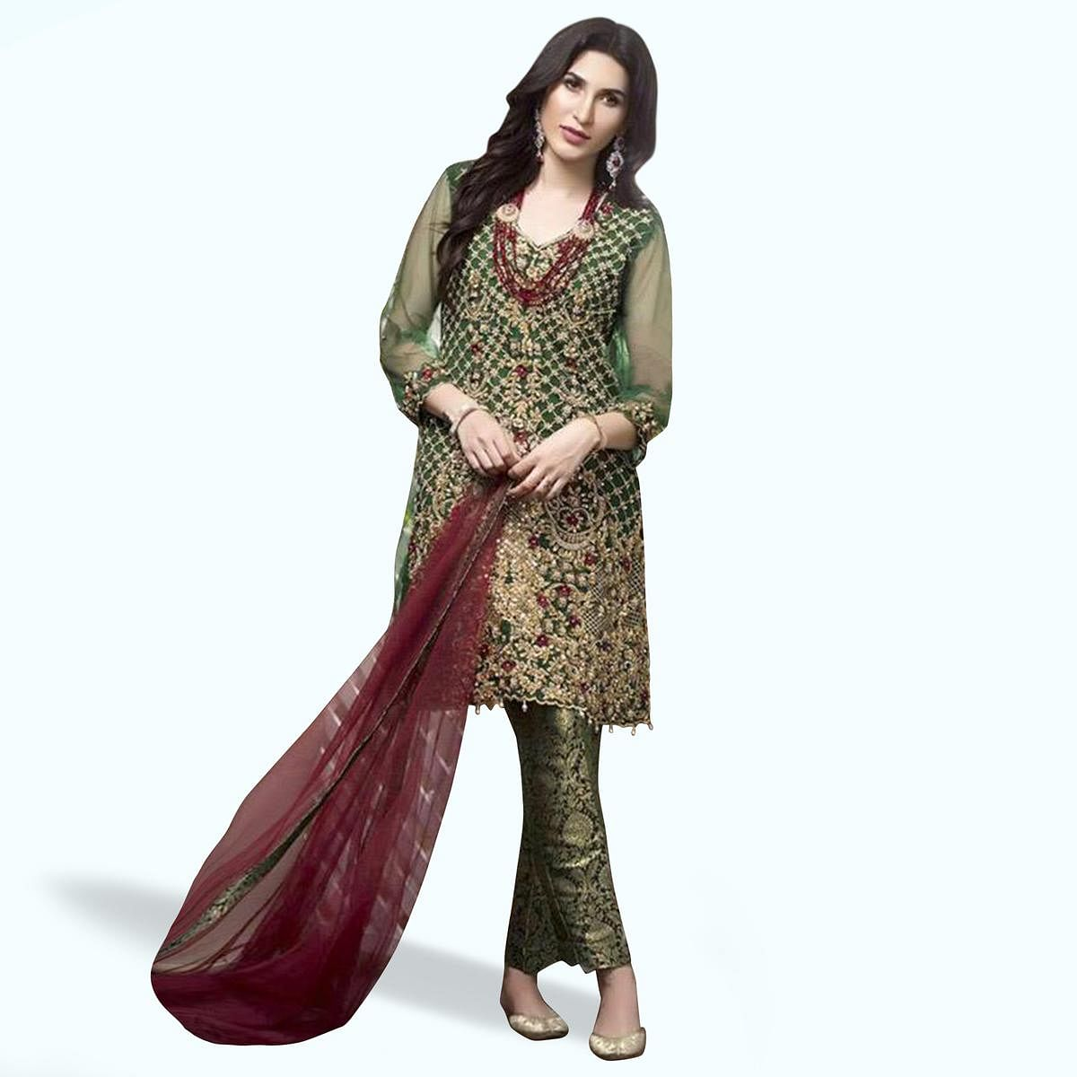 Marvellous Green Colored Partywear Embroidered Netted Pant Style Suit