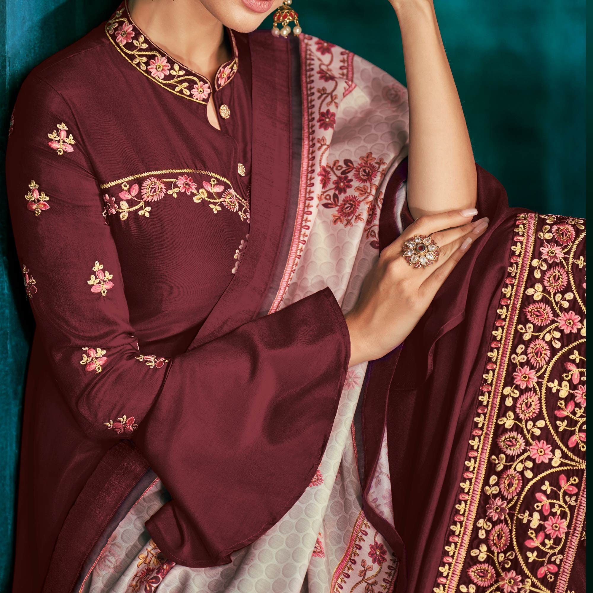 Stylish Maroon Colored Partywear Embroidered Cotton Palazzo Suit