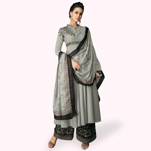 Stunning Gray Colored Partywear Embroidered Cotton Palazzo Suit