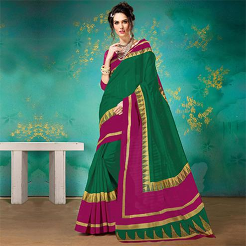 Green-Pink Festive Wear Bhagalpuri Cotton Saree