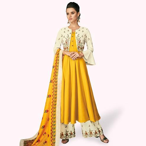 Marvellous Yellow-Cream Colored Partywear Embroidered Cotton Palazzo Suit