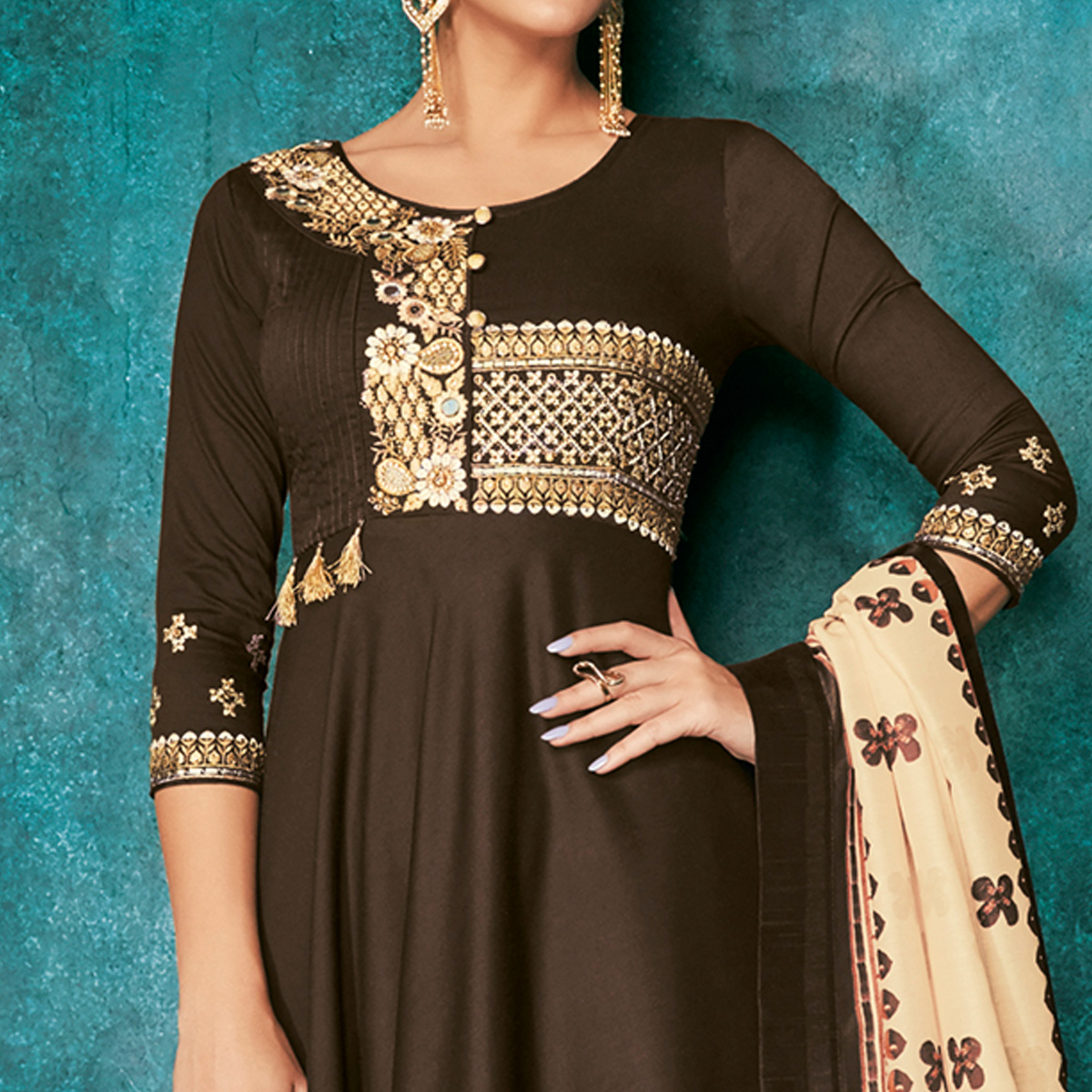 Mesmerising Brown Colored Partywear Embroidered Cotton Palazzo Suit