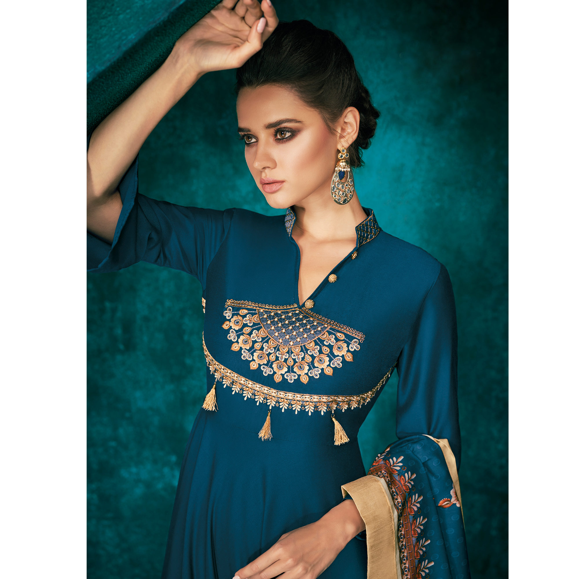 Gleaming Blue Colored Partywear Embroidered Cotton Palazzo Suit